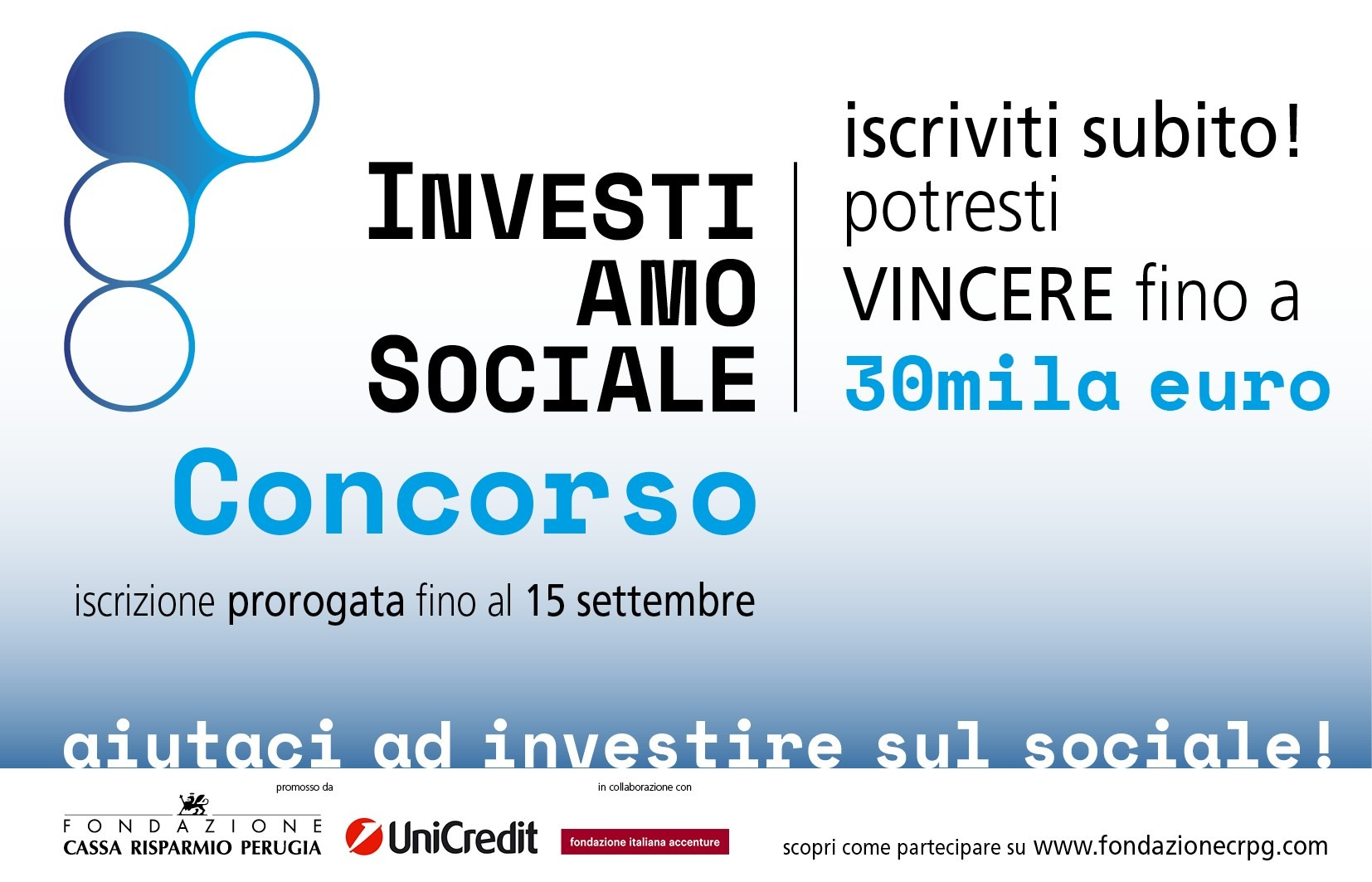 Fondazione Cassa Risparmio Perugia: Prorogata al 15 settembre la scadenza del concorso InvestiAMOsociale