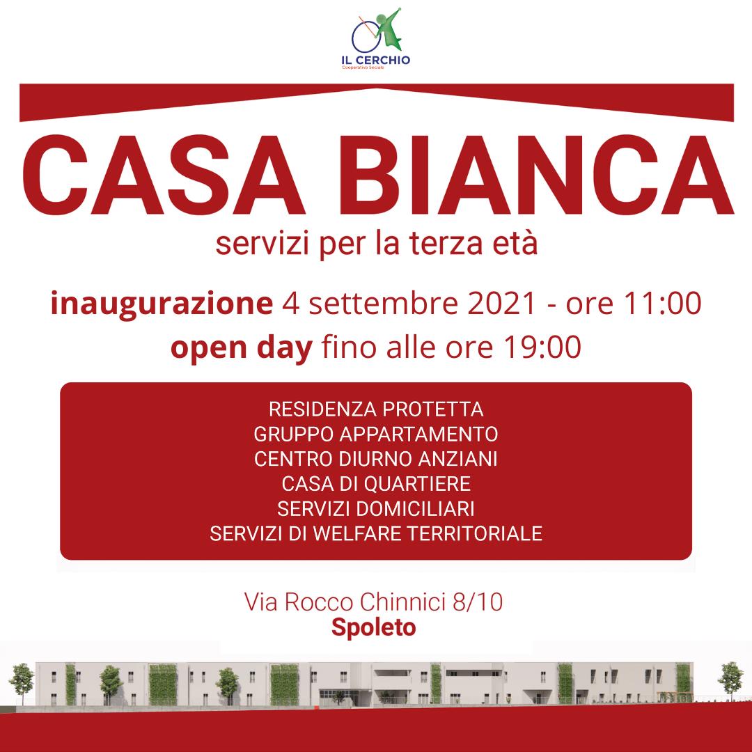 Coop. Il Cerchio – 4 Settembre 2021 a partire dalle ore 11.00 Inaugurazione nuovo servizio CASA BIANCA -Servizi per la Terza Età